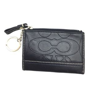 COACH black leather key ring wallet/coin pouch